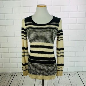 Nordstrom Pink Rose Black & Tan Striped Sweater- M